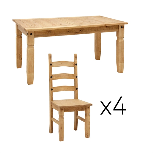 Corona Mexican Pine Corona Pine 152cm Dining Table With 4 Chairs Review Co