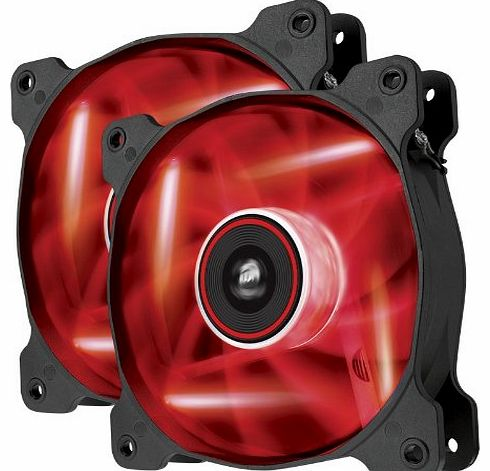 Air Series AF120-LED 120mm Quiet Edition High Airflow LED Fan - Red (Dual Pack)