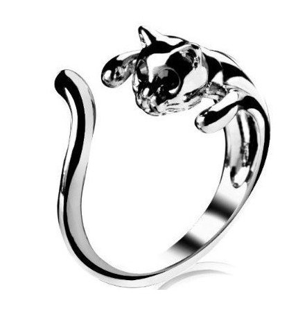 Cosmo Cow JE5041 Jewelry Ring,Silver Plated Cat Shape Ring, Adjustable Size product image