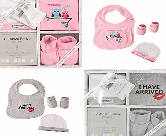 Costanzo Enrico Designer 3 Piece Baby Gift Set For Boys and Girls (Pink)