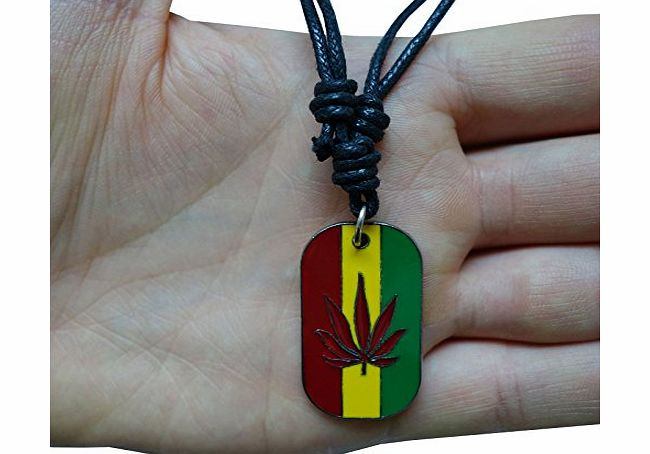Costume Jewellery Reggae Bob Marley Cannabis Leaf Dog Tag Pendant Chain Necklace Choker For Men product image