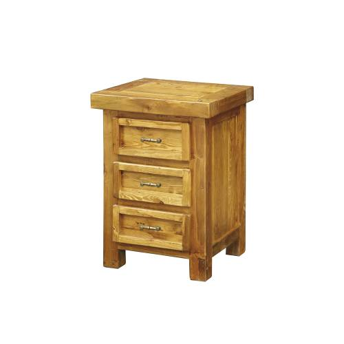 Cottage Pine Furniture Chunky Pine 3 Drawer Bedside