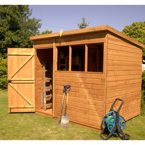 With its generous height the County Pent is ideal when used as a workshop or general storage unit. Features include tongue and grooved shiplap cladding four fixed windows and green mineral roofing felt. (8ft x 6ft model is pictured) - CLICK FOR MORE INFORMATION