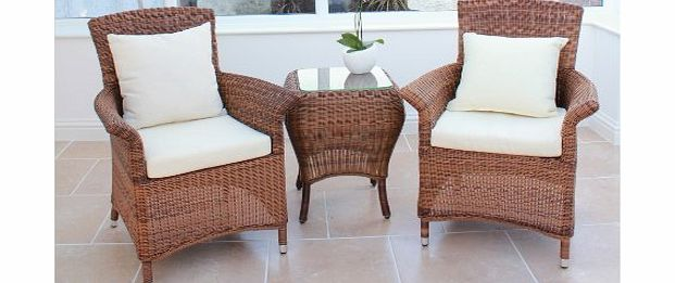 Cozy Bay Sicilia Rattan Furniture Java Honey Garden Conservatory Tea For Two Set