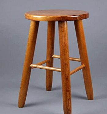 (KBR-Large) LAQUERED BROWN WOODEN STOOL CHAIR BAR KITCHEN BREAKFAST
