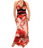 Blue Banana Red Abstract Print Maxi Dress Size 14