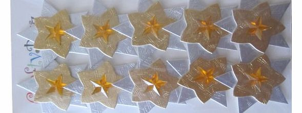 Self Adhesive Hand Made Gold amp; Silver Christmas Star Embellishments