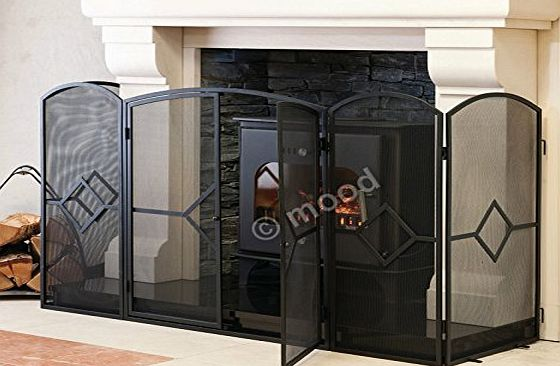 Crannog Stove Fire Guard ~ 32``H Screen Fireguard Sparkguard for Fireplace (54.5``W front x18``D return panels = 90.5`` Wide in Total x32``H) Large