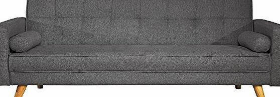 CRAVOG Modern Contemporary Scandi Style Sofa Bed Fabric Upholstered 3 Seat Padded Convert-Couch Sofa Sleeper Bed with Wooden Legs (Charcoal)
