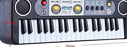 CRAVOG Multifunctional 37 Keys Digital Piano,Gift for kids, Keyboard Educational Electone Lightweight Mini Electronic Keyboard Music Toy with Microphone