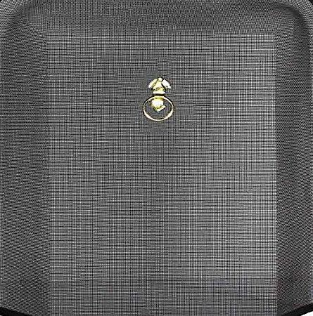 CrazyGadget Black Fireguard Freestanding Fireside Fine Mesh Fire Guard Screen Sparkguard Spark Guard with Brass Ring