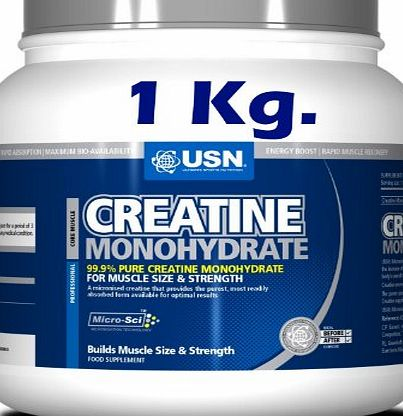 Creatine Monohydrate Strength Powder USN Creatine Monohydrate 1 Kg Size and Strength Powder