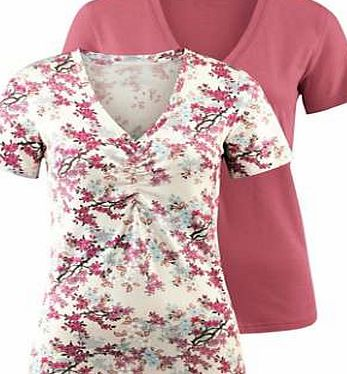 Creation L Pack of 2 Gathered Detail Cotton Tops