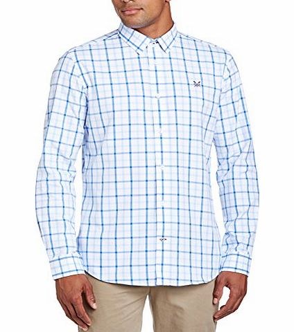 Mens Broadwater Check Slim Fit Button Down Long Sleeve Casual Shirt, Blue (Sky), Medium