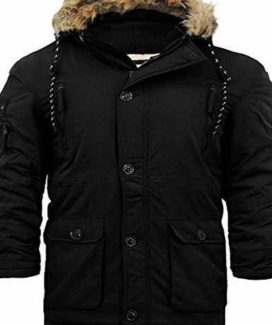 Crosshatch 2k16Aug MENS CROSSHATCH BRANDED KILLBORN DESIGNER ZIP THROUGH FUR LINED PARKER HOODED COAT[Black ,S]