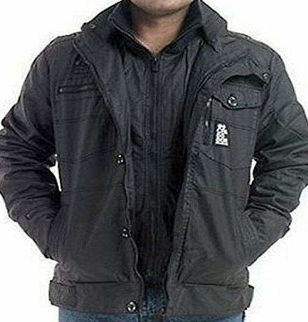 Crosshatch Mens Designer Crosshatch Multi Pockets Full Zip Jacket Top Coat Size: S to 2XL (L, Black)