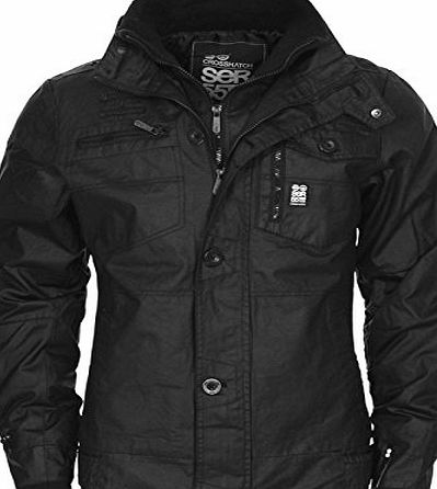 Crosshatch NEW MENS CROSSHATCH PLIXXIE JACKET PADDED DESIGNER BLACK RIBBED WINTER ZIP COAT[Black ,XL]