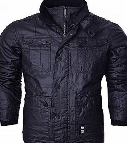 Crosshatch NEW MENS CROSSHATCH SHARPSTER JACKET PADDED DESIGNER BLACK RIBBED WINTER ZIP COAT[Black ,L]
