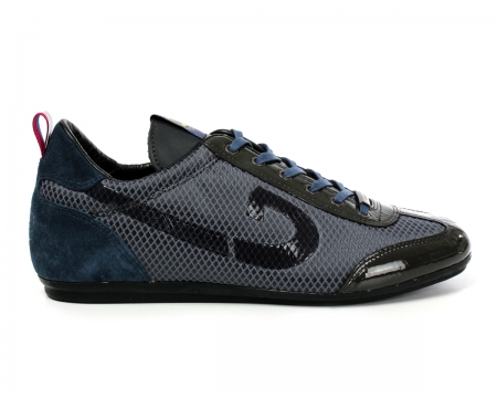 Vicenzo Grey/Blue Mesh Trainers