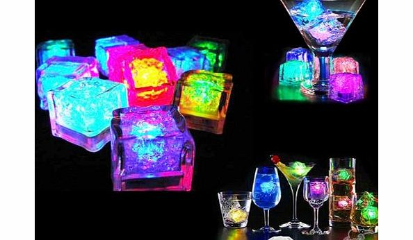 Crystals & Gems Uk  12 x Submersible LED Ice Cubes with Flashing Multi-Color Lights Rocks, Great Party Decoration or Unique Gift product image