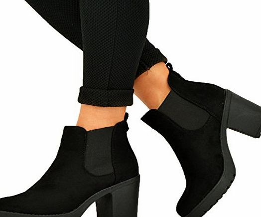 Cucu Fashion NEW WOMENS LADIES CHUNKY BLOCK HEEL GRIP SOLE CHELSEA ANKLE BOOTS SHOES SIZE 3 4 5 6 7 8, Black Suede, Size 6 UK