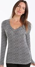 Cuddl Duds, 1297[^]265392 Womens Softwear Long Sleeve V-Neck - Animal