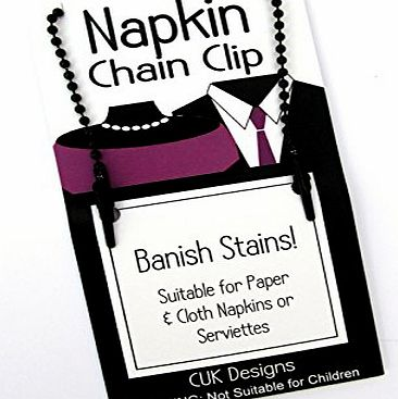 CUK Napkin Serviette Black 50cm Flexible Ball Chain with 2 Clips by CUK - Unisex