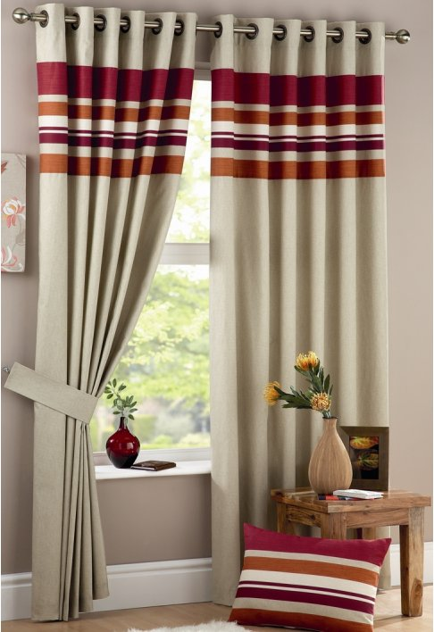 Harvard Spice Lined Eyelet Curtains