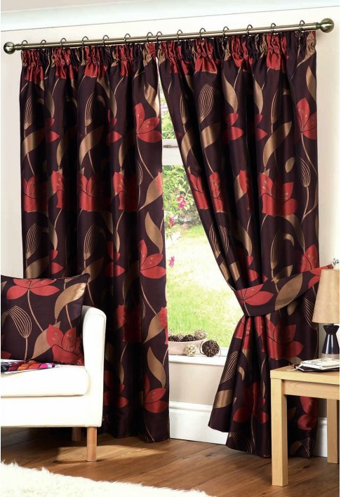 Isabella Spice Lined Curtains