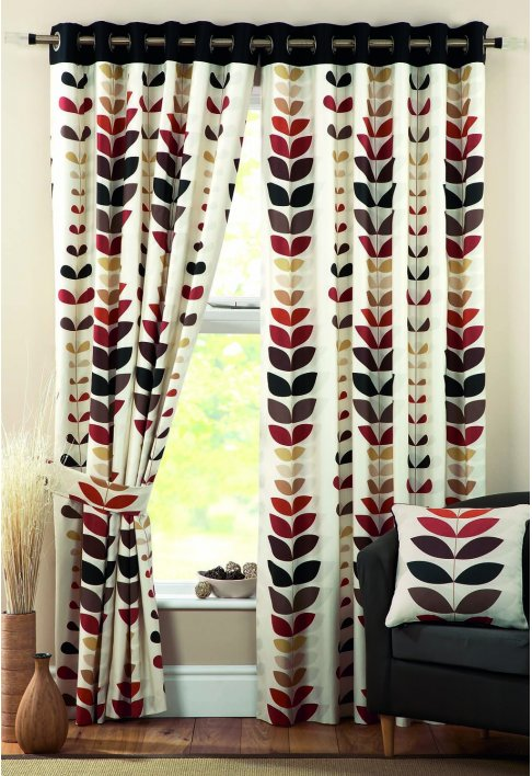 Zest Spice Lined Eyelet Curtains