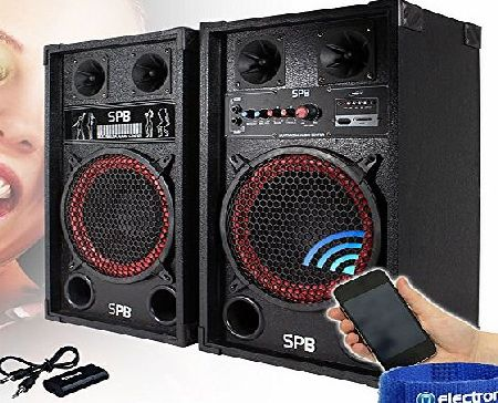 CustomKit 2x SPB 10`` Active USB/SD Party Speakers 600W   Bluetooth Music Receiver   Cables