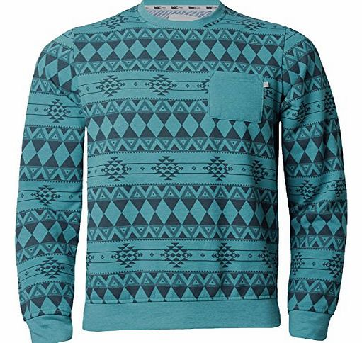 D-Code Mens Sweatshirt Jumper Knitwear Aztec Print Top Casual Crew Neck D Code 1D 2489, Turquoise Marl, Medium
