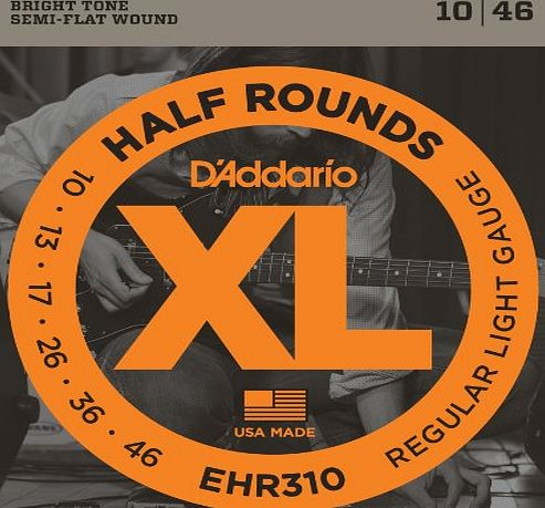 DAddario EHR310 XL Half Rounds Regular Light (.010-.046) Electric Guitar Strings