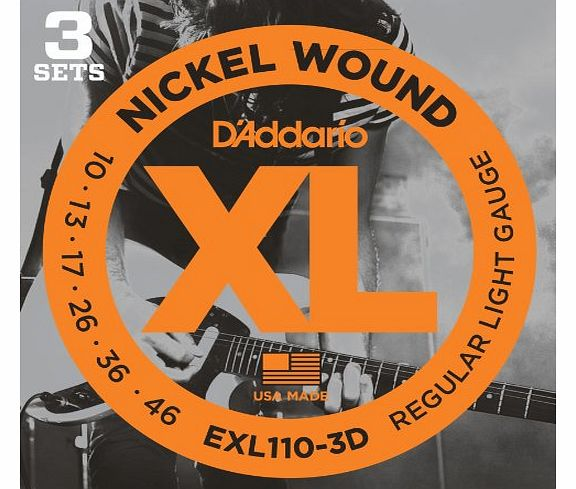 DAddario EXL110-3D XL Nickel Wound Regular Light (.010-.046) Electric Guitar Strings 3-Pack product image