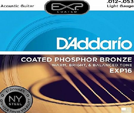 DAddario EXP16 with NY Steel Phosphor Bronze Acoustic Guitar Strings, Coated, Light, 12-53