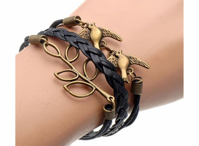 Fashion Lady Retro Knit Love 8 Shape Cross 5 /Bronze Love Tree Bird 3/ 8 Shape Anchor 3 Strands Suede Rope Bracelet (Blue&White)