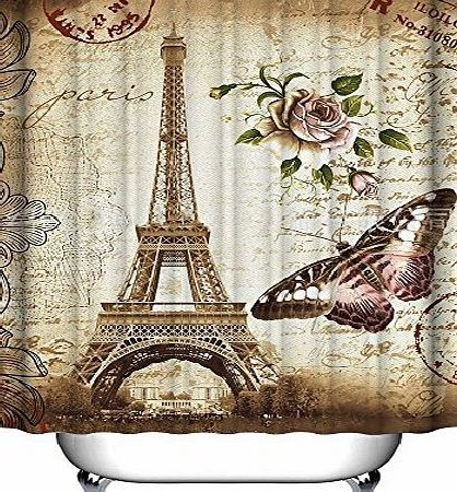 Daily  72 X 72 Inch Retro Vintage Paris Eiffel Tower Waterproof Kids Bathroom Shower Curtain - Butterfly and Flower Pale Brown Polyester Fabric Bathroom Accessories Home Decoration