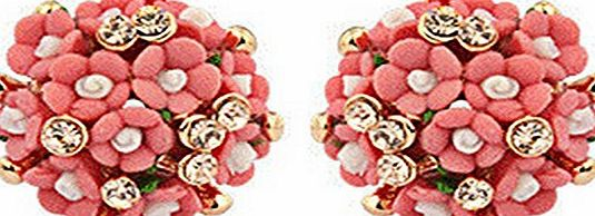 DaisyDaisyLove 1 pair Red Female Soft Ceramic Flowers Bloom Exquisite Cute Exaggerated Diamond Earrings Women Girl