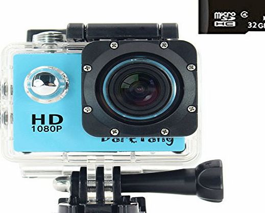 DareTang 1080P Waterproof Action Camera DV 12MP HD DVR Camcorder 170° Wide-Angle Lens   Variety of Stands/Mounts/Casing for Skiing, Snowboarding, Surfing, Hiking, Climbing, Extreme Sports (Blue)