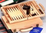 Deluxe Oak Backgammon Set 15 inch