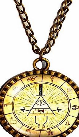 DAVIDHANDMADE Gravity Falls Bill Cipher Wheel Necklace Antique Glass Pendant Jewelry Hot Chain