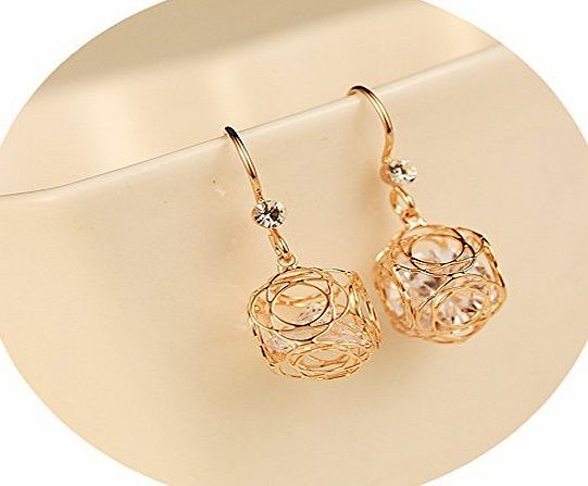Dawn Davison LIMITED PROMOTIONS Delicate Zircon Diamond Gold Earrings For Women 18ct Gold Plant Earrings Drops Studs