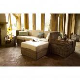 Rattan Ottoman with Cream Cushions