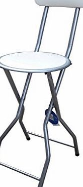 New Quality Folding Breakfast Bar Stool Office Kitchen Parties High Chair Cream amp; Silver