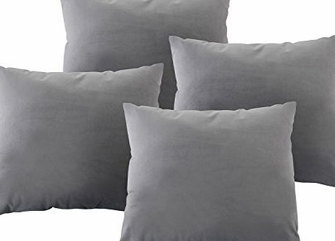 Deconovo Throw Cushion Cover for Sofa Velvet Hand Made Square Cushion 18x18 Inch Silver Grey