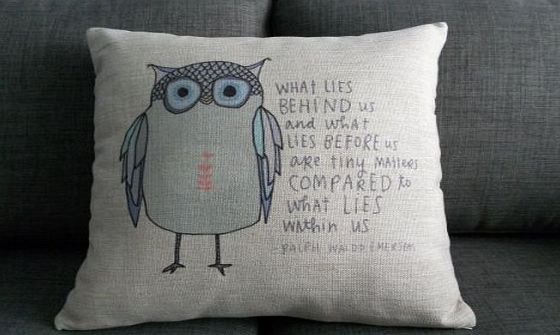 decorpillow Cotton Linen Square Throw Pillow Case Decorative Cushion Cover Pillowcase Owl Sayings 18 ``X18 ``