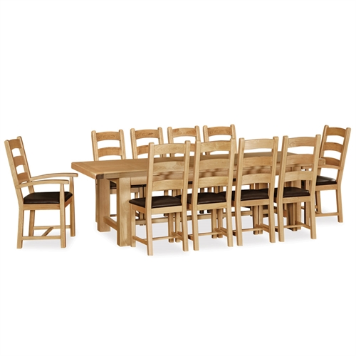 Delaware Oak Extra Large Dining Set Salisbury Extension Table Chairs
