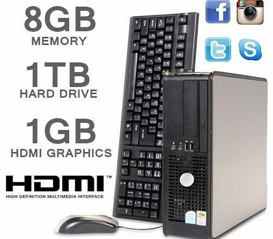 Dell  PC HDMI 1000GB 8GB MEMORY CORE 2 DUO PC SFF FAST MACHINE (P2-9)