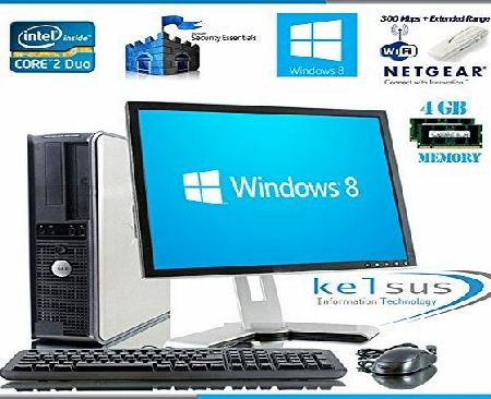 Dell Windows 8 - Dell OptiPlex Computer Tower with Large 19`` LCD TFT Flat Panel Monitor - FREE One Year Extended Warranty - Powerful Intel Core 2 Duo CPU - Massive 1TB Hard Drive - 4GB RAM - DVD - Wireless