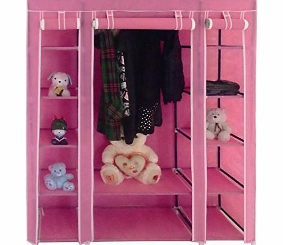 Delta NEW PINK TRIPLE CANVAS WARDROBE WITH SHELVES - BEDROOM STORAGE FURNITURE product image